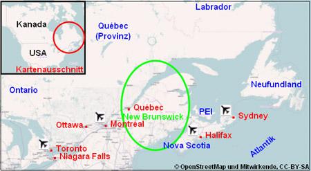 Karte Lageplan New Brunswick Kanada