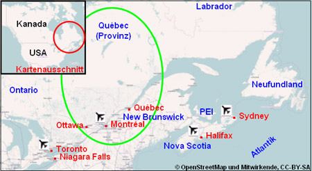 Karte Plan Provinz Quebec