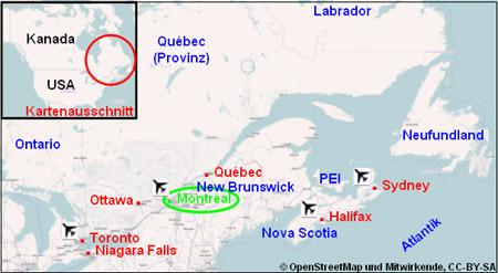 Montreal Stadtplan Reiseführer Karte