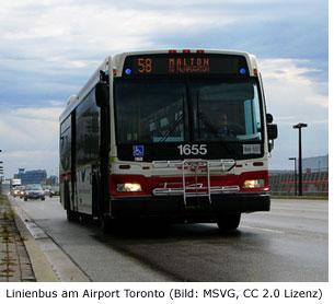 Nahverkehr am Flughafen Toronto ÖPNV Bus Verbindung
