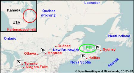 Prince Edward Island P.E.I. Karte Lageplan